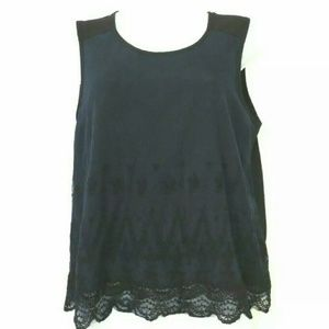 Anthropologie E hanger M Blue black lace layered